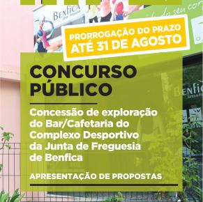 PRAZO PRORROGADO – Concurso Público – Bar /Cafetaria do Complexo Desportivo da Junta de Freguesia de Benfica
